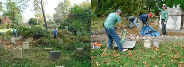 landscape crew cleaning and restoring mausoleum