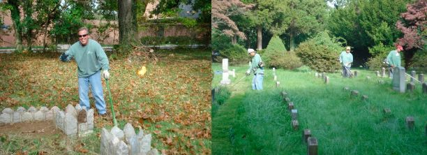 maintenance crew restoring gravestones