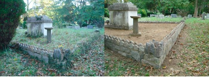 cleaned tomb area before after
