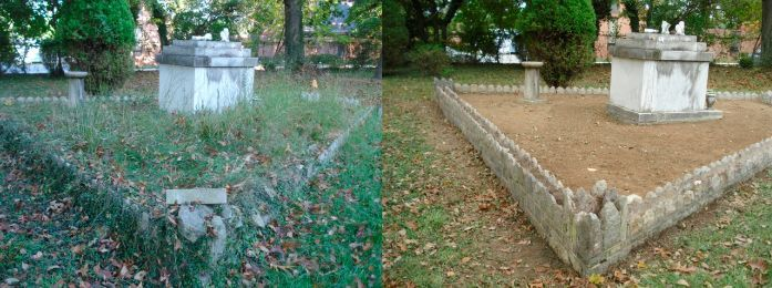 tomb area cleaned from grass