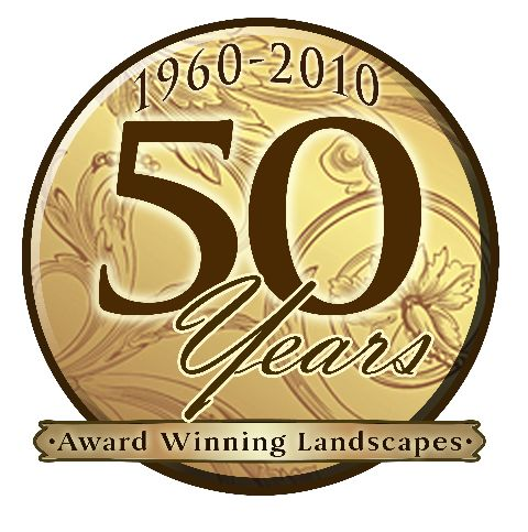 Fiftieth anniversary logo for Johnson's Lanscaping Service
