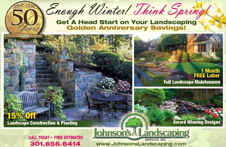 Promotional flyer showing promotions on spring landscaping