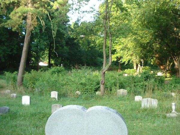 Several tombstones in a cemetery for pets