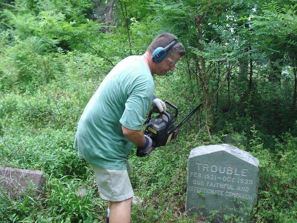 fixing a gravestone