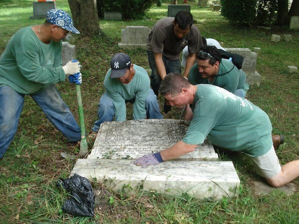 repairing a gravestone