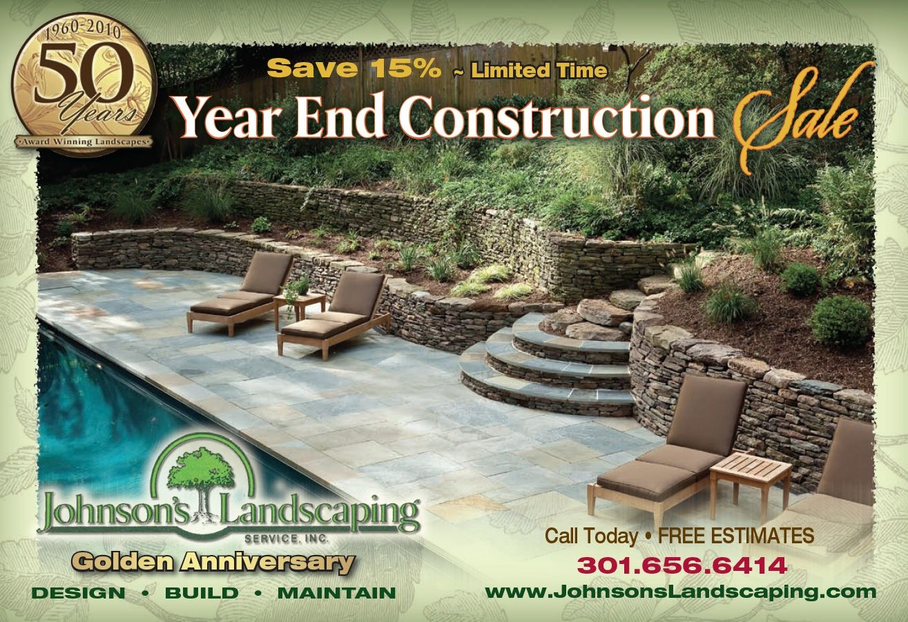 Promotional Johnson's Landscaping Flyer for limited time year end construction sale