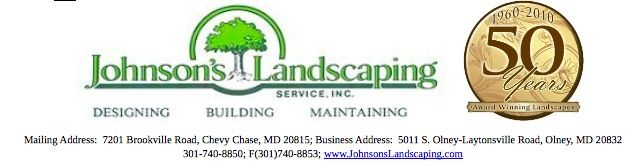 Johnson's Landscaping logo with the fiftieth anniversity symbol