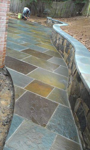 A flagstone walkway