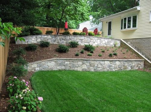 Backyard with sloped landscape and multiple stone retaining walls