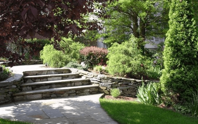 Stone hedge and stairs