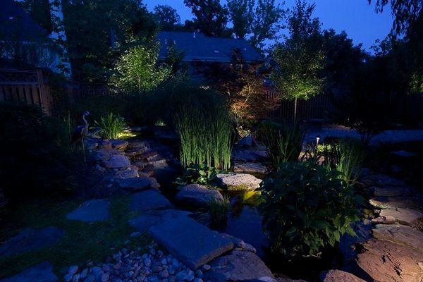 Night time patio with lighting