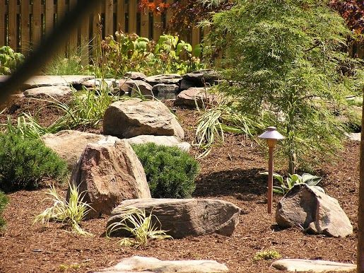 Boulders in mulch