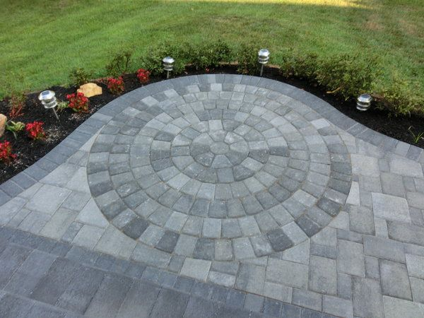 Stone patio patterned
