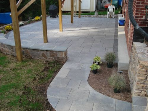 Stone pathway leading to patio