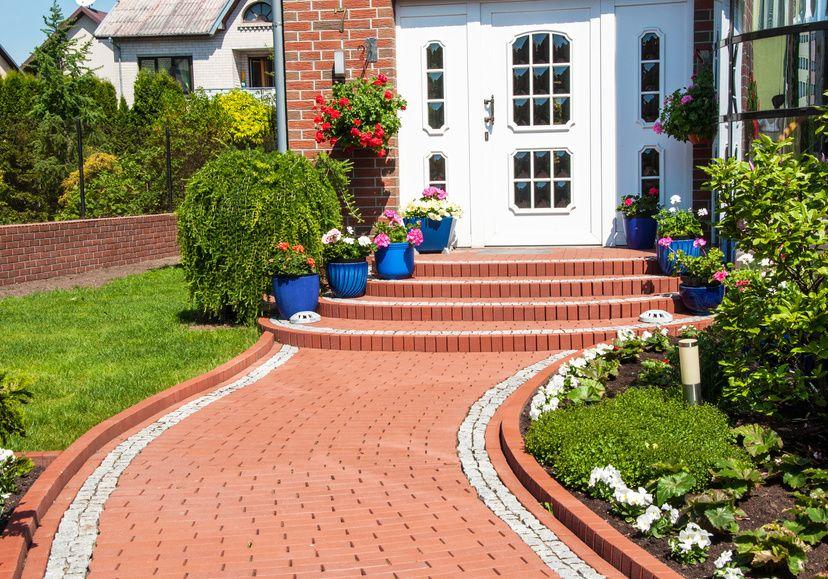 Red brick pathway to front door