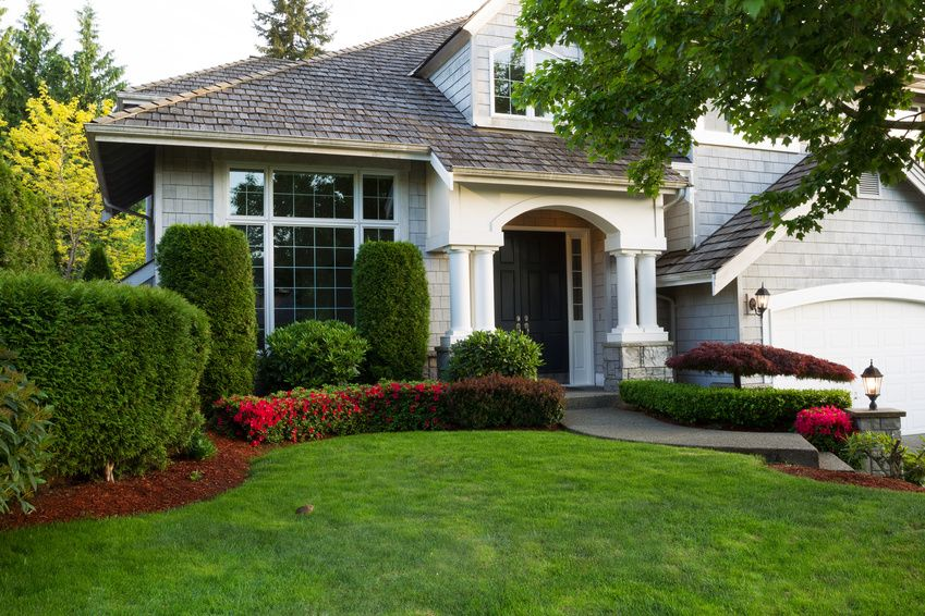 Home with landscaped front yard
