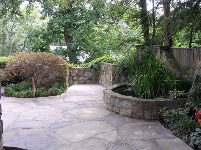 Large stone pathway with water feature