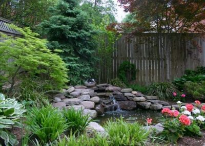 Backyard landscaped area with water feature and plantings