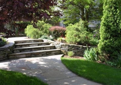 Backyard area with stone patios, steps, and several large plantings