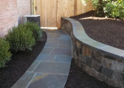 stone pathway in backyard with shrubbery