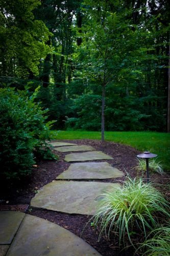 Stone pathway leading into backyard