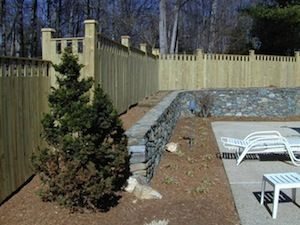 stone wall on a backyard