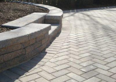 Stone paved driveway