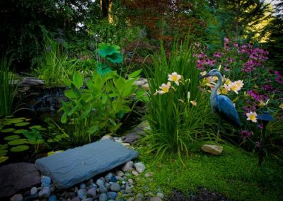 Pond water feature in natural backyard with bird statue