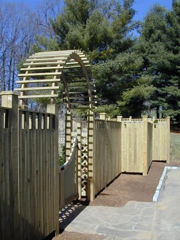 Wooden arbor and fence