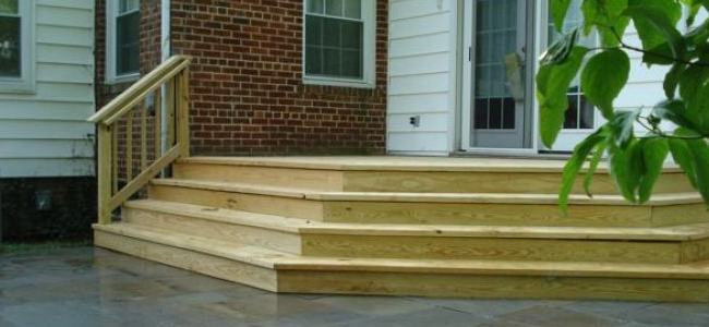 New wooden stairs on a patio