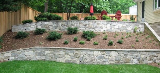 Retaining walls with shrubs