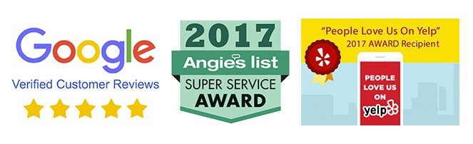 List of Awards and Reviews from Google Yelp and Angie's List