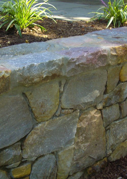 Stone wall in a garden