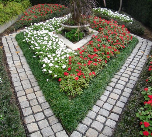 Backyard landscaping with stone pavers and flowers