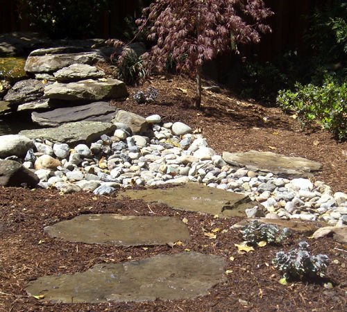 Outdoor rock garden and stone pathway