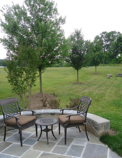 Chairs on a flagstone patio